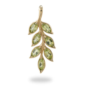 Maile Leaf Peridot Pendant & Earrings Set in 14K Yellow Gold Set