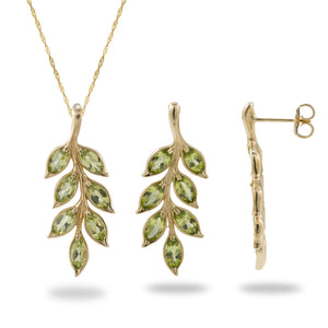 Maile Leaf Peridot Pendant & Earrings Set in 14K Yellow Gold