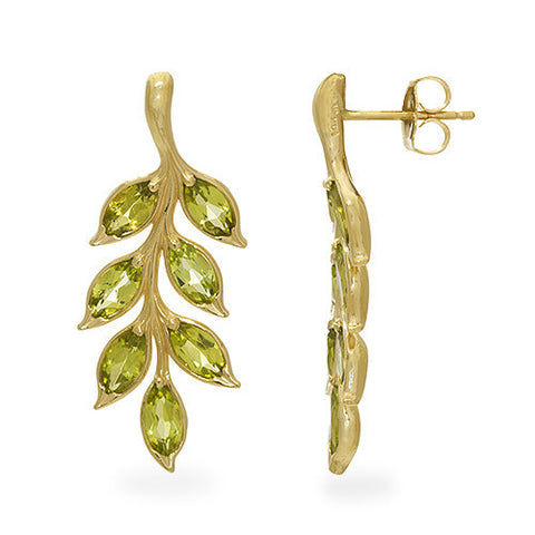 Peridot Earring in 14K Yellow Gold