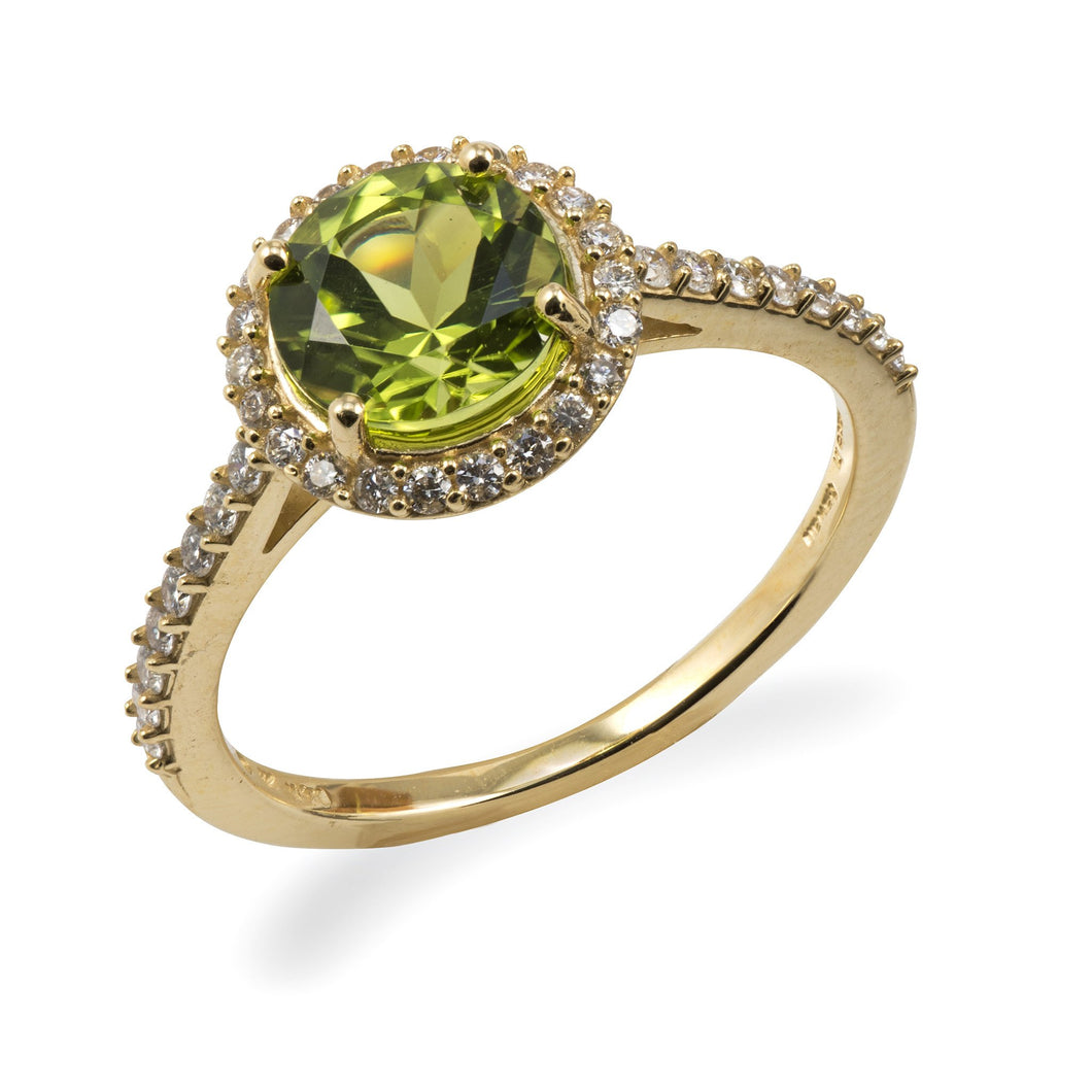 Kaimana Lei Peridot Ring with Diamonds in 14K Yellow Gold