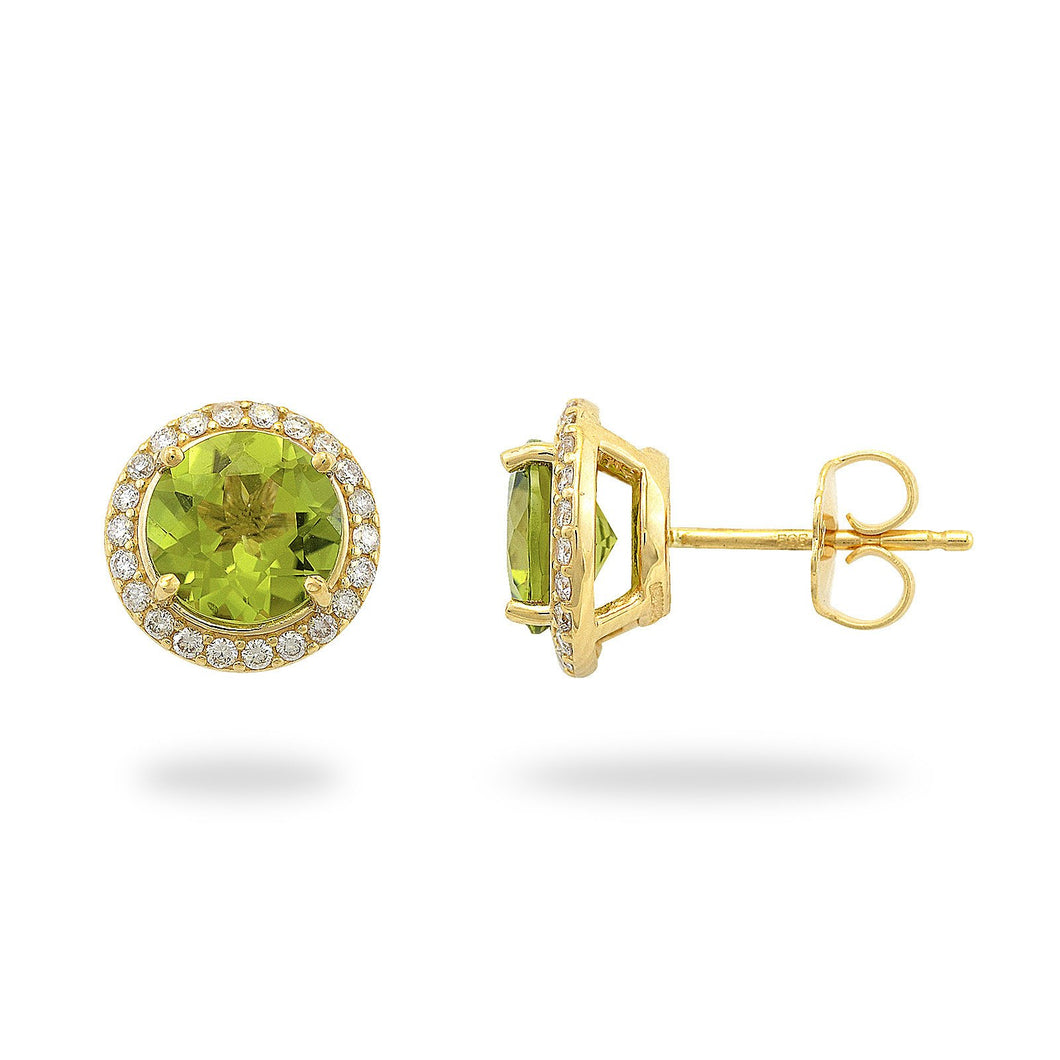 Kaimana Lei Peridot Earrings with Diamonds in 14K Yellow Gold