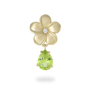 Plumeria Peridot Pendant with Diamond in 14K Yellow Gold 020-00361