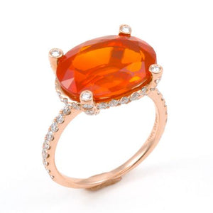 Fire Opal Ring with Diamonds in 18K Rose Gold