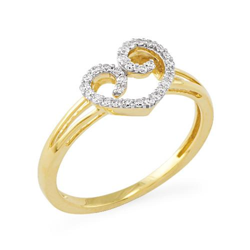 Diamond Heart Ring in 14K Yellow Gold