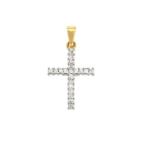 Diamond Cross Pendant in 14K Two-Tone Gold