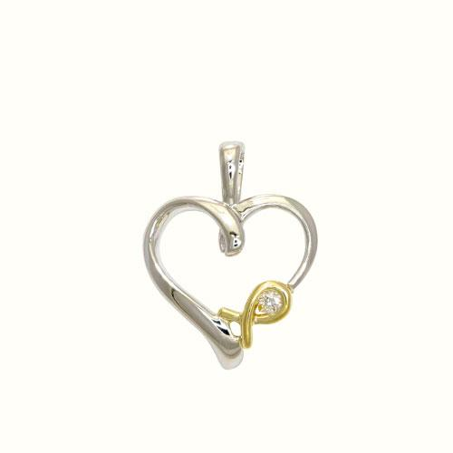 Heart Diamond Pendant in 14K Yellow and White Two-Tone Gold