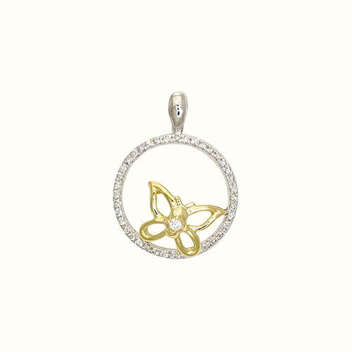 Diamond Pendant in 14K Yellow and White Two-Tone Gold