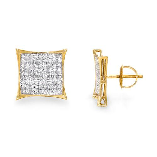 Diamond Earrings in 10K Two-Tone Gold