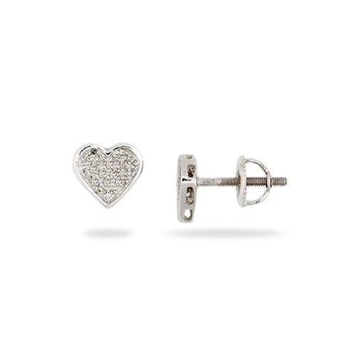 Diamond Heart Earrings in Sterling Silver