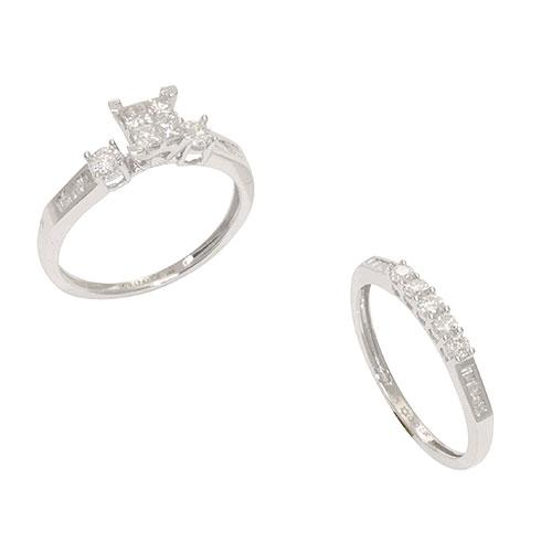 Diamond Ring Set in 10K White Gold
