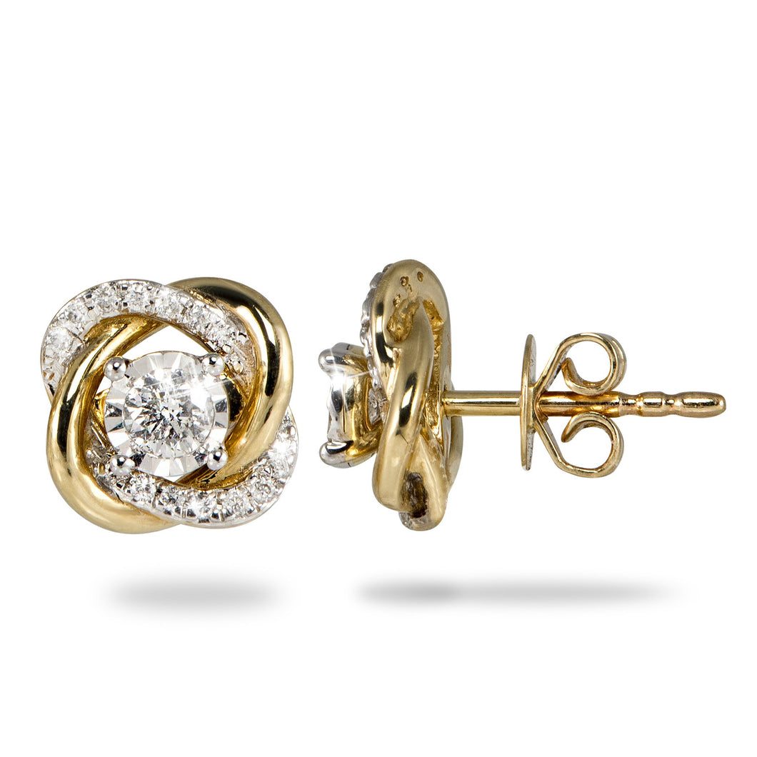 Diamond Earrings in 14K Yellow and White Gold