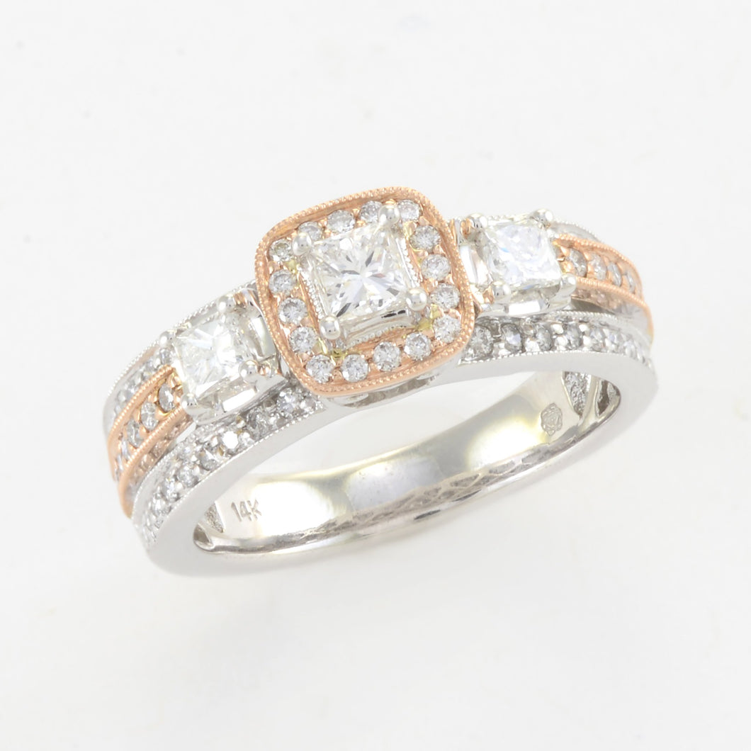 Diamond Ring in 14K White and Rose Gold