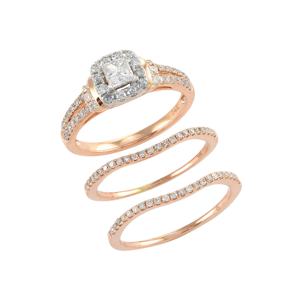 Diamond Rings in 14K White and Rose Gold
