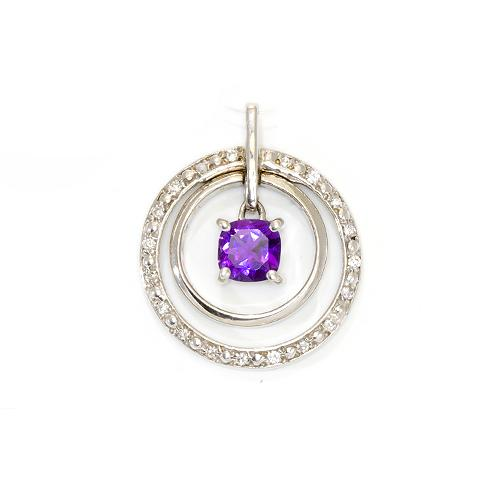Pendants amethyst pendant in 14k white gold mozeypictures Image collections