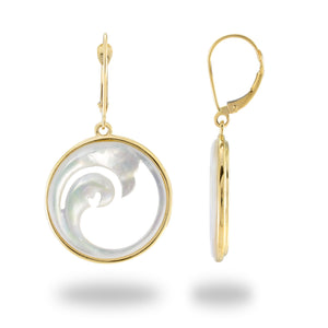 NALU DOUBLE WAVE WITH MOTHER OF PEARL DANGLE EARRINGS IN 14K YELLOW GOLD - 22MM