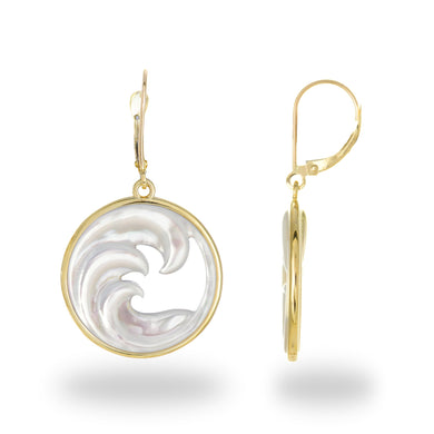 Triple Nalu (Wave) Mother of Pearl Earrings in 14K Yellow Gold - 22mm