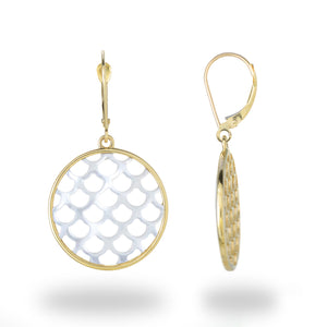 Mermaid Scale Mother of Pearl Earrings in 14K Yellow Gold - 22mm