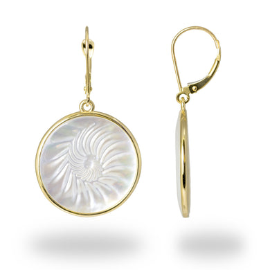 Nautilus Mother of Pearl Earrings in 14K Yellow Gold - 22mm 031-00224
