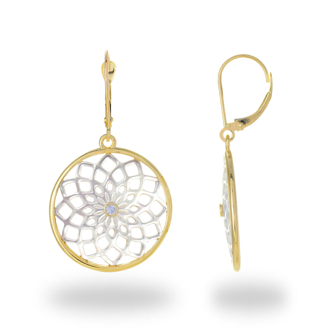 Protea Mother of Pearl Earrings with Diamond in 14K Yellow Gold - 22mm 031-00225