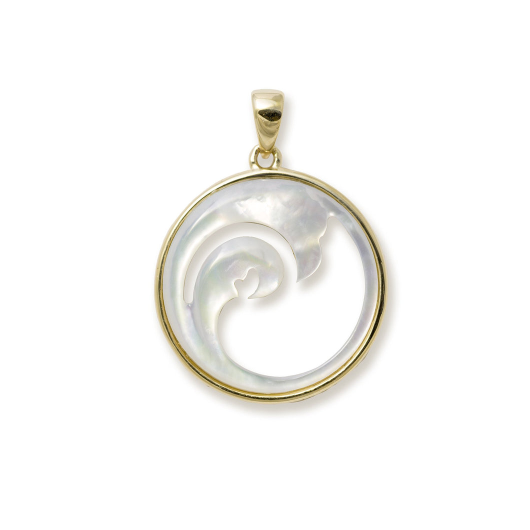 Double Nalu (Wave) Mother of Pearl Pendant in 14K Yellow Gold - 22mm 031-00226