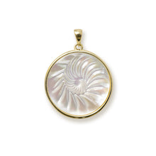 画像をギャラリービューアに読み込む, Nautilus Mother of Pearl Pendant in 14K Yellow Gold - 22mm 031-00230Nautilus Mother of Pearl Earrings in 14K Yellow Gold - 22mm 031-00224