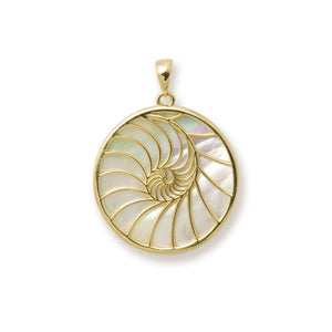 Nautilus Mother of Pearl Pendant in 14K Yellow Gold - 22mm 031-00230Nautilus Mother of Pearl Earrings in 14K Yellow Gold - 22mm back 031-00224