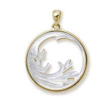 画像をギャラリービューアに読み込む, Nalu (Wave) Splash Mother of Pearl Pendant in 14K Yellow Gold - 27mm 031-00234