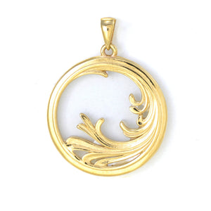Nalu (Wave) Splash Mother of Pearl Pendant in 14K Yellow Gold - 27mm back 031-00234