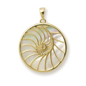 NAUTILUS MOTHER OF PEARL PENDANT IN 14K YELLOW GOLD