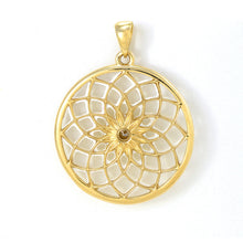 画像をギャラリービューアに読み込む, Protea Mother of Pearl Pendant with Diamond in 14K Yellow Gold - 27mm back 031-00236