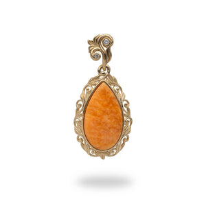 Orange Spiny Oyster Pendant in 14K Yellow Gold - Medium