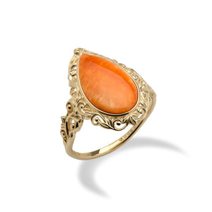 Orange Spiny Ring in 14K Yellow Gold - Medium