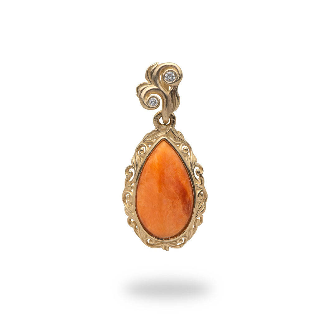 Orange Spiny Oyster Pendant in 14K Yellow Gold - Small
