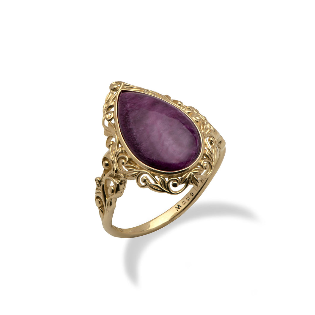 Purple Spiny Ring in 14K Yellow Gold - Medium