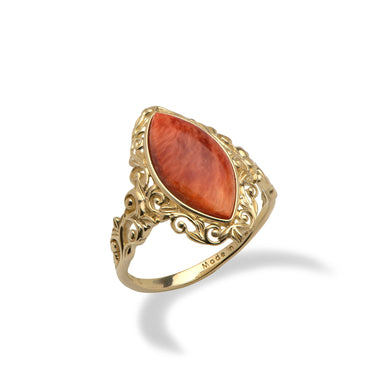 Red Spiny Ring in 14K Yellow Gold - Medium