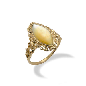 Yellow Mother of Pearl Ring in 14K Yellow Gold - Medium