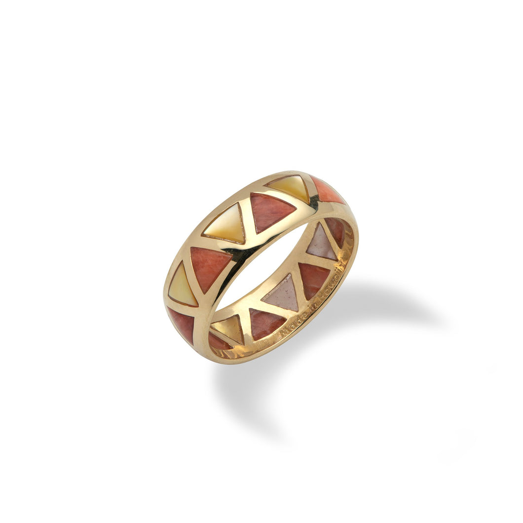 Red Spiny Oyster and Golden Mother Ring in 14K Yellow Gold -Size 10