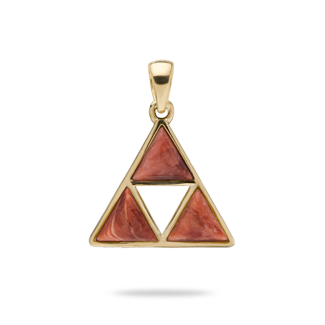 Red Spiny Oyster Pendant in 14K Yellow Gold