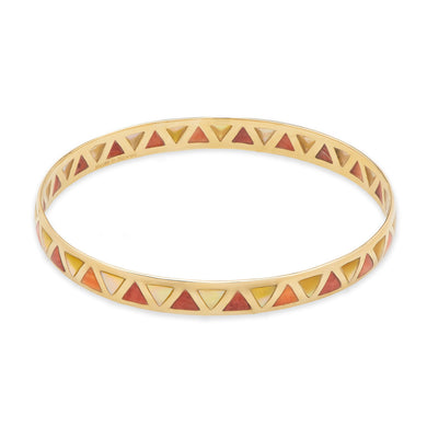 Red Spiny Oyster and Golden Mother Bangle Bracelet in 14K Yellow Gold