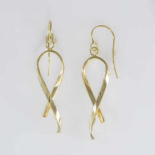 Tube Ribbon Earrings in 14K Yellow Gold 034-45452
