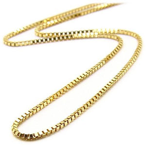 "20"" 0.8MM SMALL VENETIAN BOX CHAIN IN 14K GOLD"
