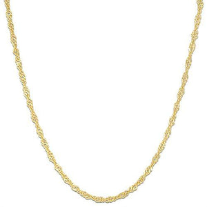 "18"" 1.0mm SINGAPORE CHAIN IN 14K GOLD"