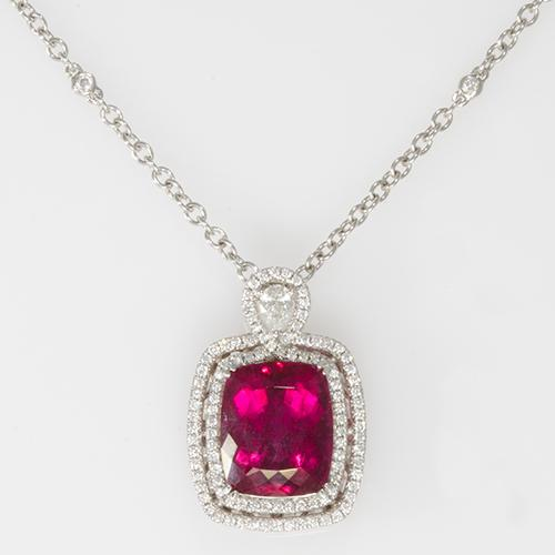 Rubellite Necklace with Diamonds in 18K White Gold