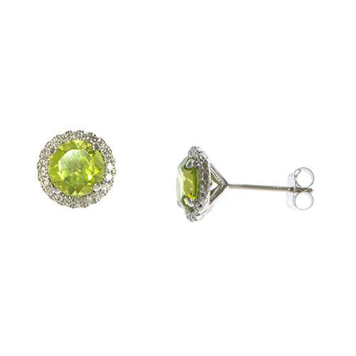 Peridot Earrings in 14K White Gold with diamonds-039-03754