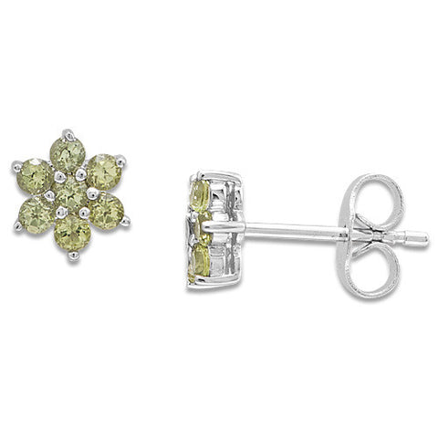 Flower Peridot Earrings in 14K White Gold