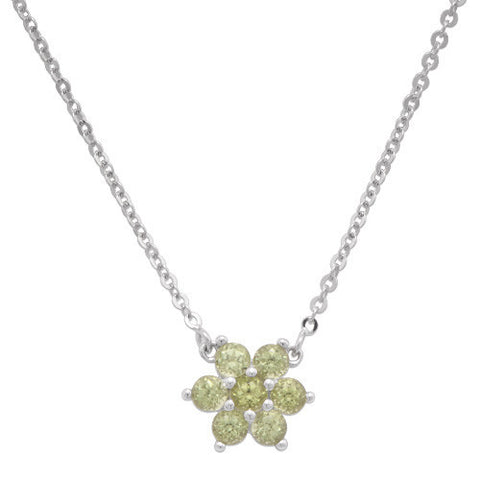 Flower Peridot Necklace in 14K White Gold