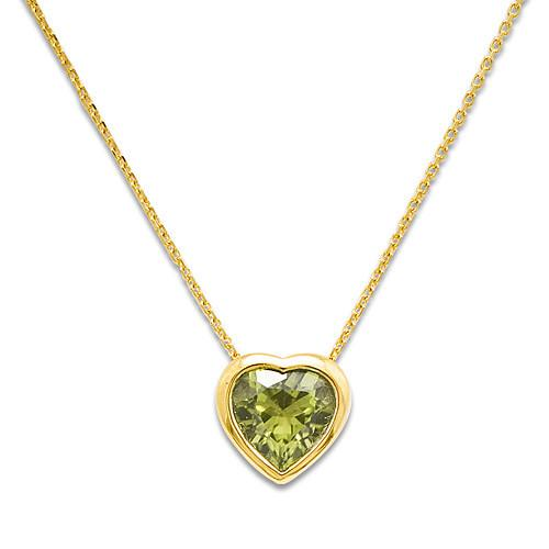 Heart Peridot Necklace in 14K Yellow Gold 039-13121