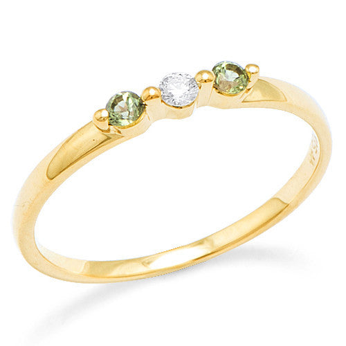 Peridot Ring with Diamond in 14K Yellow Gold