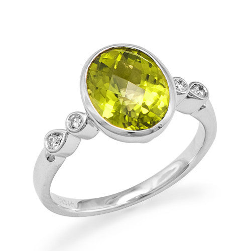 Peridot Ring with Diamonds in 14K White Gold
