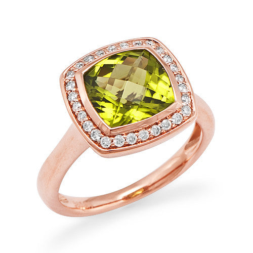 Peridot Ring with Diamonds in 14K Rose Gold